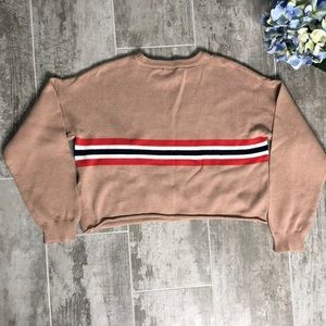 Forever 21 tan striped cropped crew neck sweater